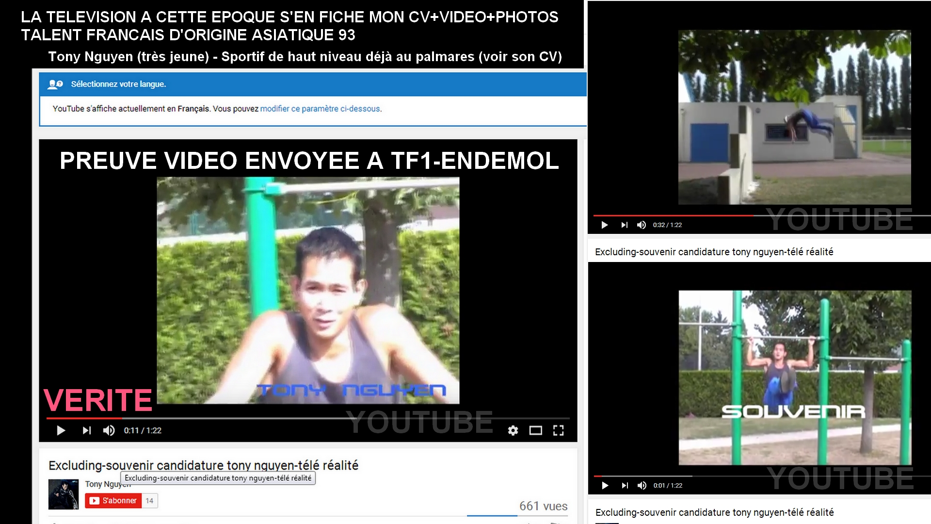 Excludingvideo tonynguyen candidaturevideotelerealite racismeanti asiatiquesenfrance